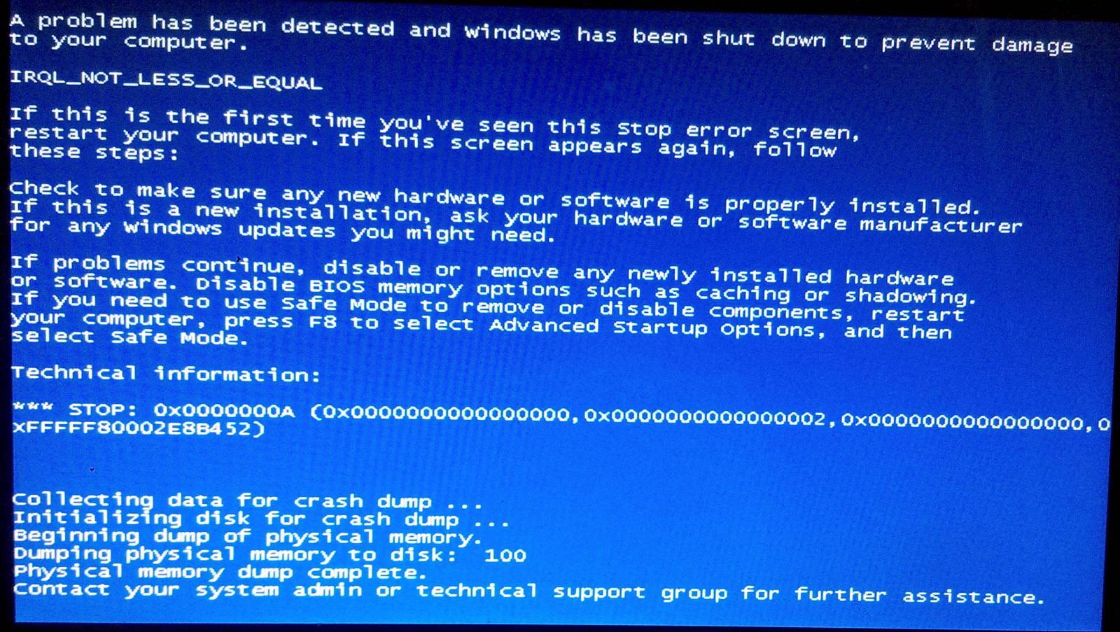 Что делать, если экран ноутбука стал синим