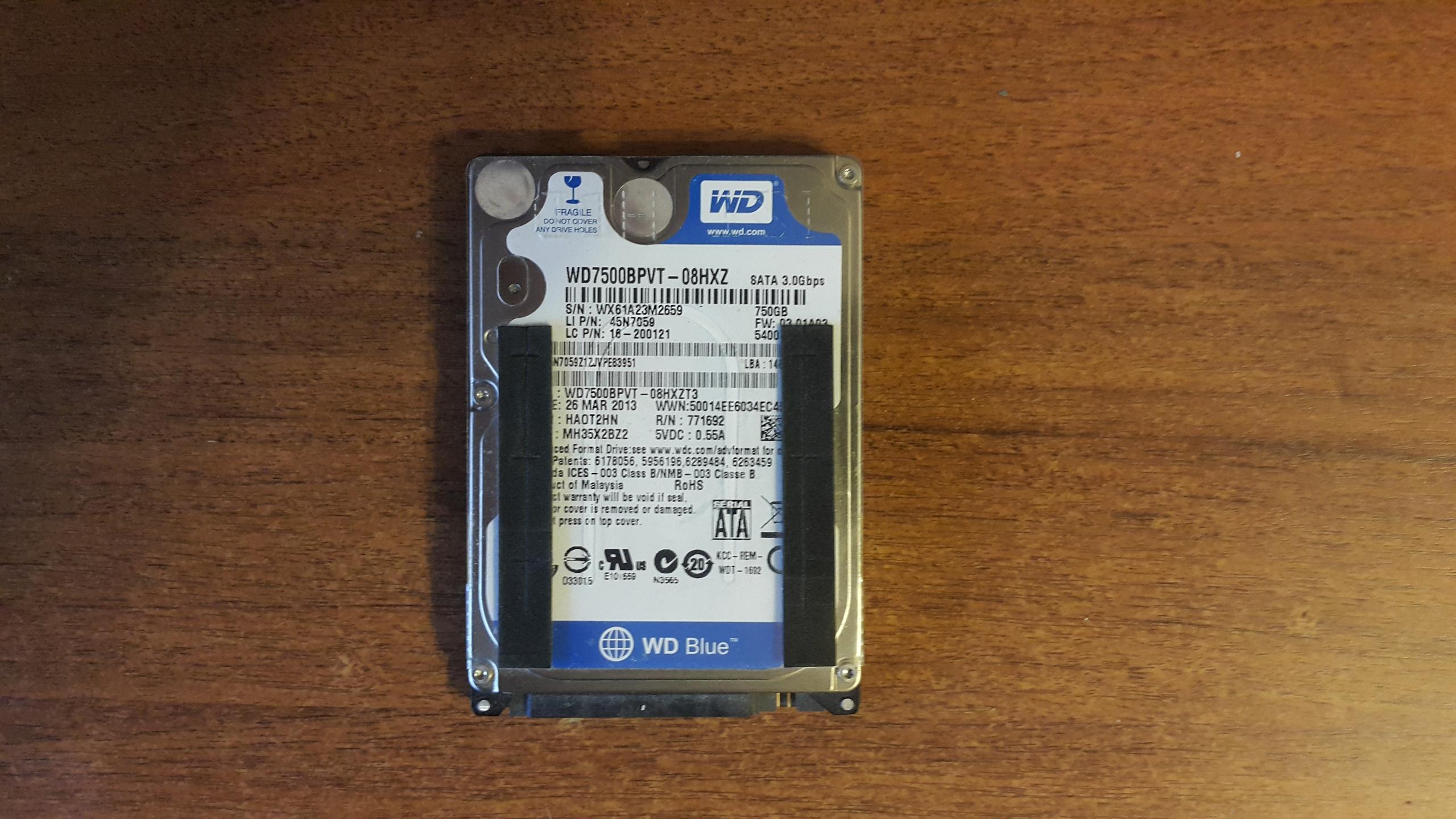 На фото жесткий диск ноутбука